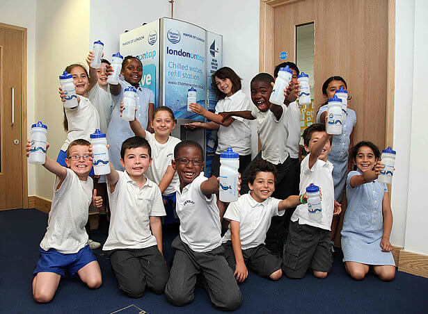 Primary school children queuing up for HydraChill